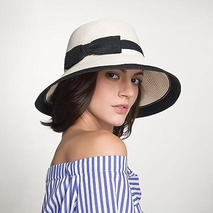 Cappello Estivo Donna di Paglia Spiaggia Pescatore Cappellino di Sole Tesa  Larga Bowknot Cappelli Pieghevole da 7ffd4b47104c