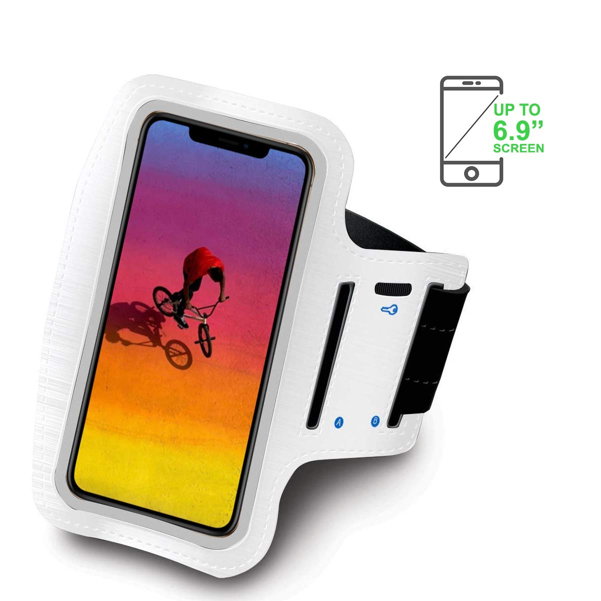 Blanco Brazalete Deportivo Compatible con Xiaomi Mi MAX 3 Running Neopreno Ajustable Velcro antisudor Antideslizante Bolsillo para Auriculares Llaves
