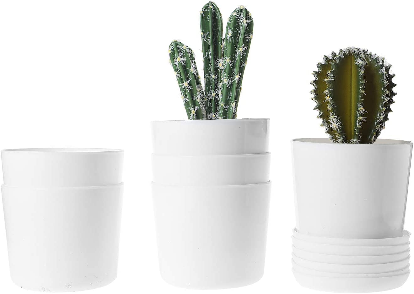 T4U 3.75 Inch Plastic Pot with Saucer White Set of 6, Round Resin Planter Cylinder Garden Plant Container Indoor Outdoor for Orchid Flower Succulent Cactus Home Office Balcony Decor Christmas Gift
