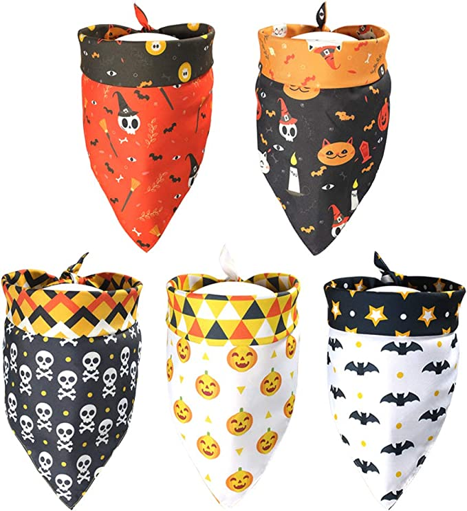 Halloween Dog Bandana-Reversible Dog Bandana-Size XSmall-Small-Medium-Large-XLarge-Over the Collar-Slides on Collar