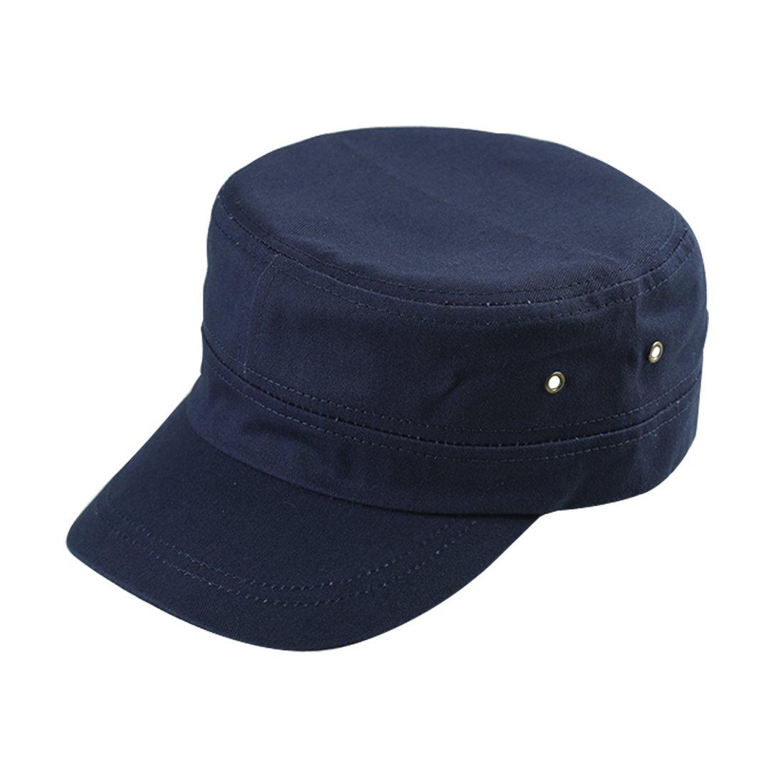 uxcell Unisex Cotton Flat Top Brass Eyelet Baseball Vintage Adjustable Cadet Cap Navy a17112300ux0272