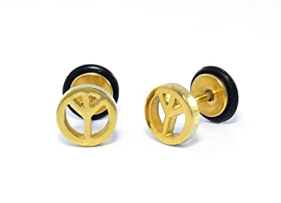 c8faad435 Buy 2Pcs Stainless Steel Gold Peace Logo Ear Studs for Men/Women Earrings  Online at Low Prices in India | Amazon Jewellery Store - Amazon.in