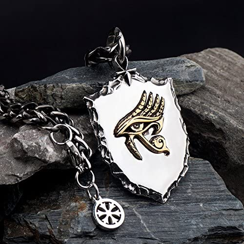 FORFOX Collar Colgante Amuleto Ojo de Horus Oro de Titanio Punk para Hombres Mujers 27 Pulgadas Cadena