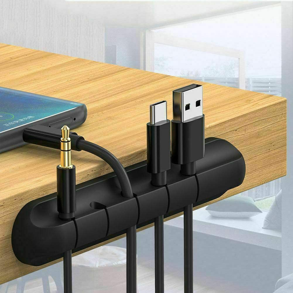 Msleep Cable Organizer Silicone USB Cable Winder Desktop Tidy Management Clips Desktop Cables Organizer