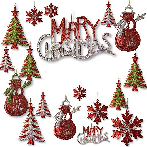 (BANBERRY DESIGNS Silver, Red and Green Glitter Ornaments - Set of 26 Glittered Christmas Ornaments - Snowmen, Merry Christmas, Xmas Tree and Snowflakes Included - Christmas)