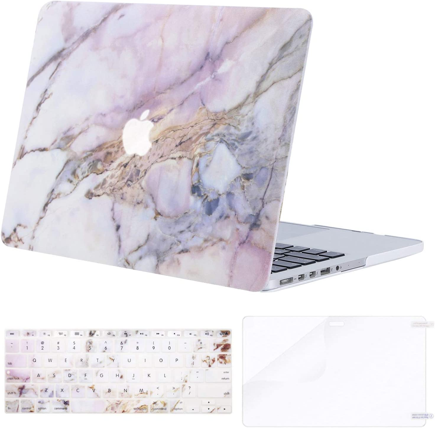 MOSISO MacBook Pro 15 inch Case (model: A1398, 2015 - end 2012 Release), Plastic Hard Shell & Keyboard Cover & Screen Protector Compatible with Older Version MacBook Pro Retina 15 inch,Colorful Marble