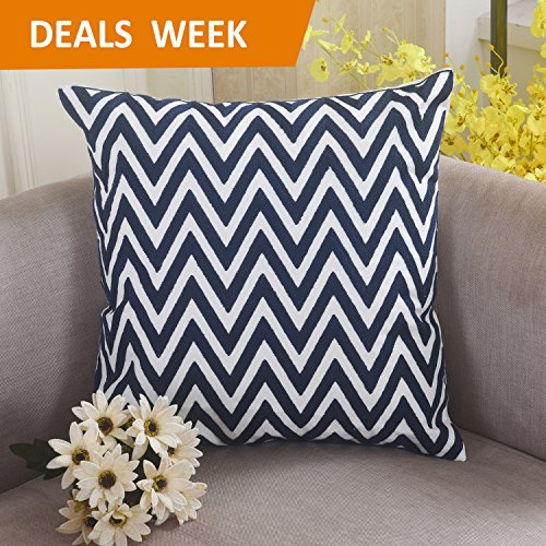 Home Brilliant Cotton Linen Zig Zag Chevron Patterned Embroidery Cushion Cover Throw Pillowcase for Bed, 18