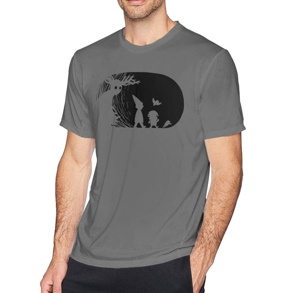 HEETENGGR O-Neck Fashion Over The Garden Wall Graphy Short Sleeve T-Shirt for Mens and Boys Black
