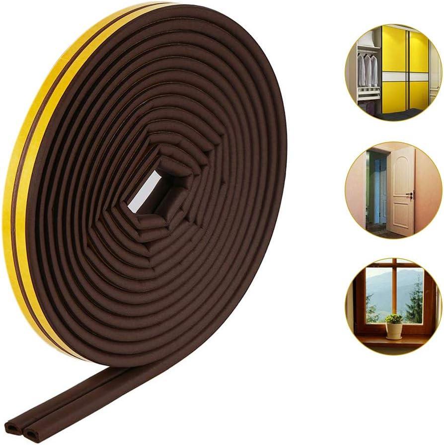 10 Meter Doors Gasket D Profile Rubber Seal Window Gaps Self-Adhesive Door Seals Rubber Seal Against Cold drafts Uscyo Sealing Tape for Doors