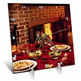 3dRose TDSwhite – Farm and Food - Food Dinner Table Set Fireplace Background - 6x6 Desk Clock (dc_285137_1)