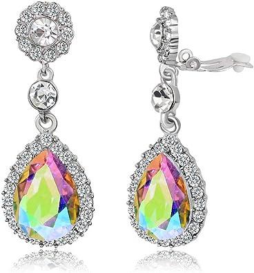 Birthstone Clip on Earrings for Girls Crystal May Teardrop Dangle Earring