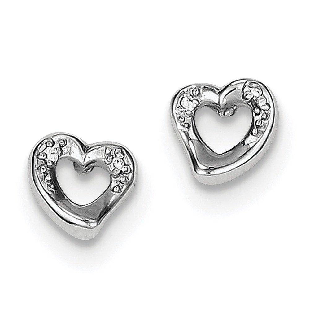 Lex /& Lu Sterling Silver w//Rhodium Heart and CZ Post Earrings