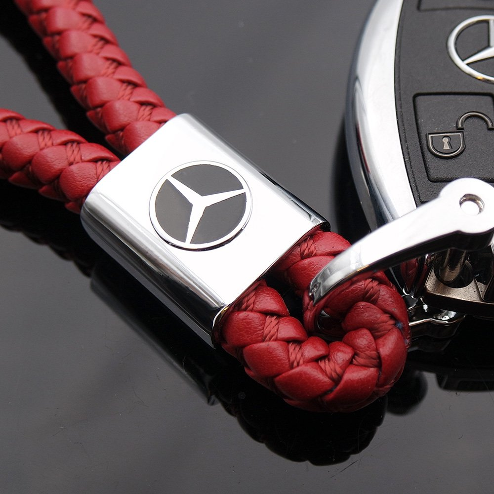 Red For Mercedes-Benz Logo Emblem Key Chain Key Ring Metal Alloy BV Style Leather Gift Decoration Accessories AMG
