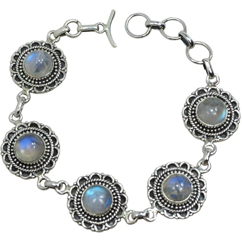 CZgem Moonstone Bracelets for Women, 925 Sterling Silver, Oval Shape Blue Luster Romance Crystals Retro, 7.6'', Ideal S844