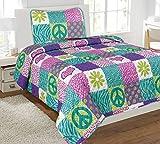 Mk Collection 2 Pc Bedspread Teens/girls Pink Purple Teal Heart Flower Peace Sighn Safari New