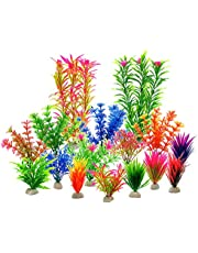 Aquarium Fish Tank Decorations - Zivisk Aquarium Home Decor Artificial Aquatic Plants - Plastic Vivid Simulation Plant Creature Aquarium Landscape Assorted Color - 16Pcs