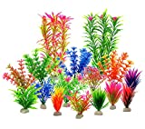 LYNKO Artificial Aquatic Plants - Aquarium Plants Plastic Fish Tank Decorations - Vivid Simulation Plant Creature Aquarium Landscape - Home Decor Plastic Assorted Color - 16Pcs