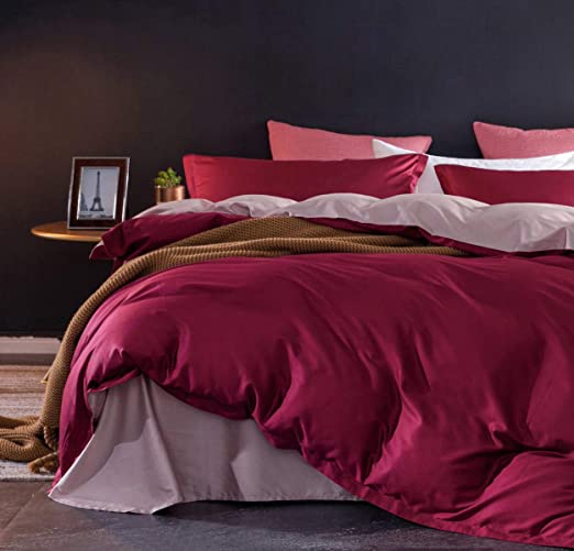 Duvet Cover Set King Size Pink Solid 1000 Thread Count Egyptian Cotton