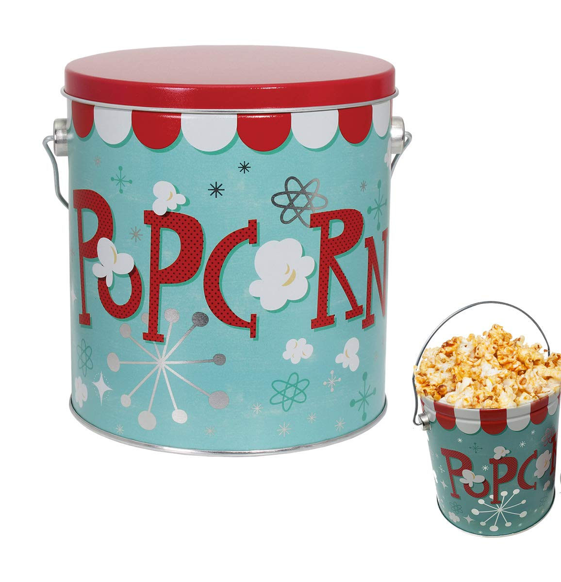 Premium Popcorn or Cookie Bucket | Container Tin | Metal | Extra Large | Jumbo 1 Gallon ChicagoT 0067