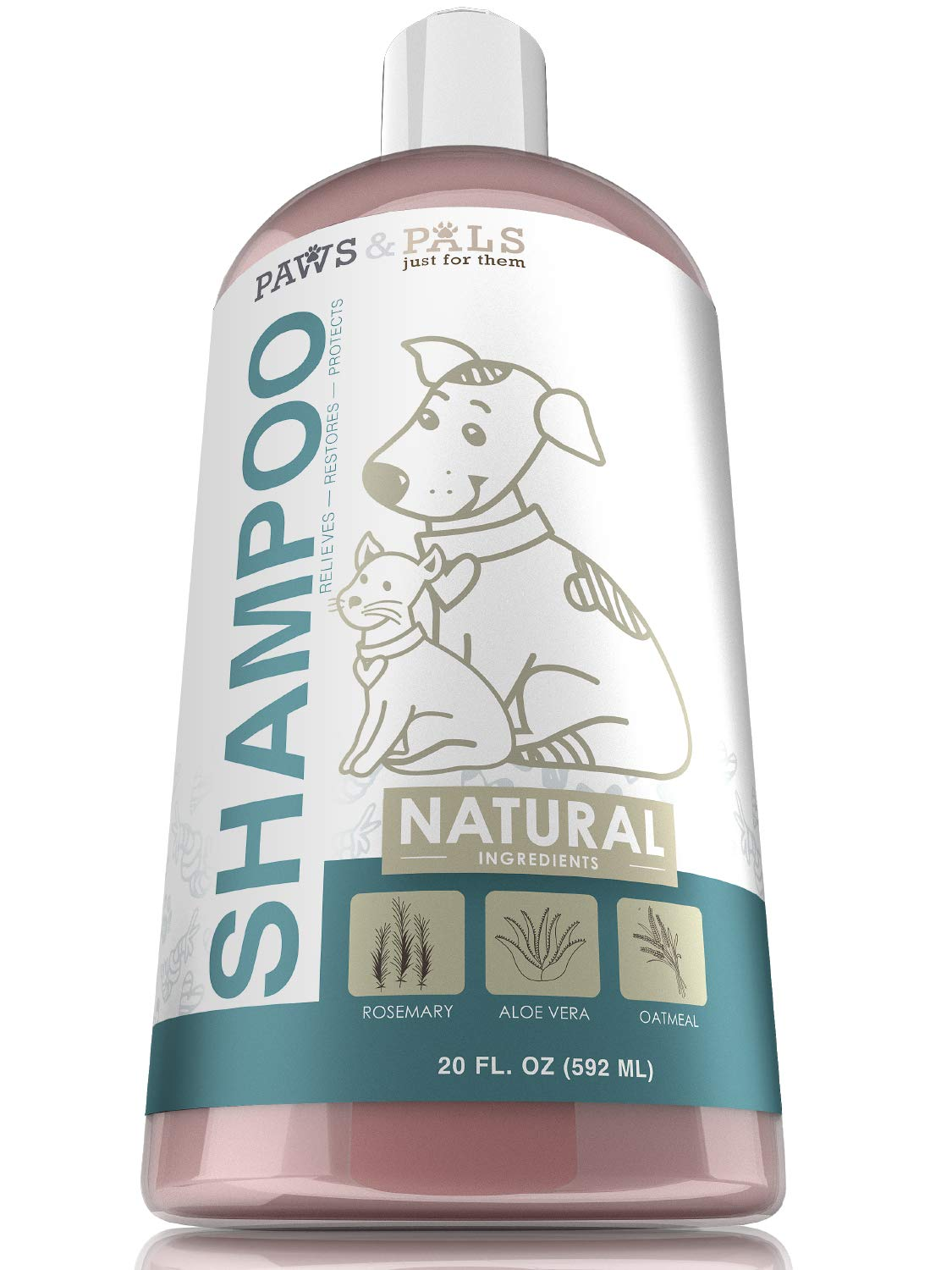 Paws & Pals 592ml Natural Dog-Shampoo And Conditioner - 20oz Medicated Clinical Vet Formula Wash For All Pets Puppy & Cats - Best Pet Odour Eliminator OxGord PTSH-01-16