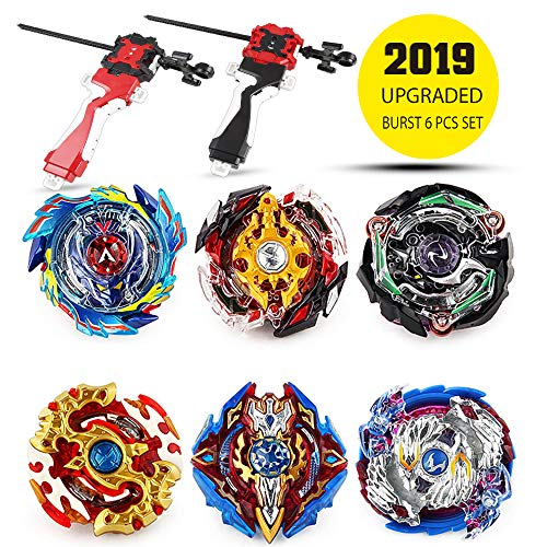 Innoo Tech Bey Battling Top Burst | Burst Evolution Combination Series 4D | Set of 6 Fighter Gyroscope 4D Fusion Model | 2 Throwers Set with Launcher | Blade Best Gift for Children Kids Toys