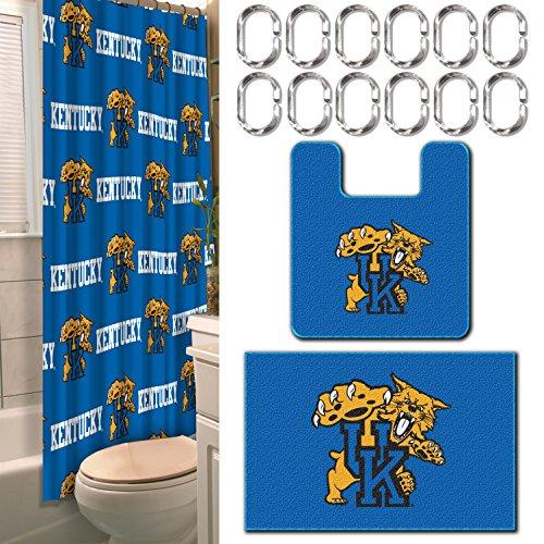 - Kentucky OFFICIAL Collegiate, 15-Piece Bath Set ((12) 2 Shower Curtain Rings; (1) 72 x 72 Shower Curtain, (1) 18 x 18 Contour Bath Mat & (1) 17.5 x 28 Rectangular Bath Rug)