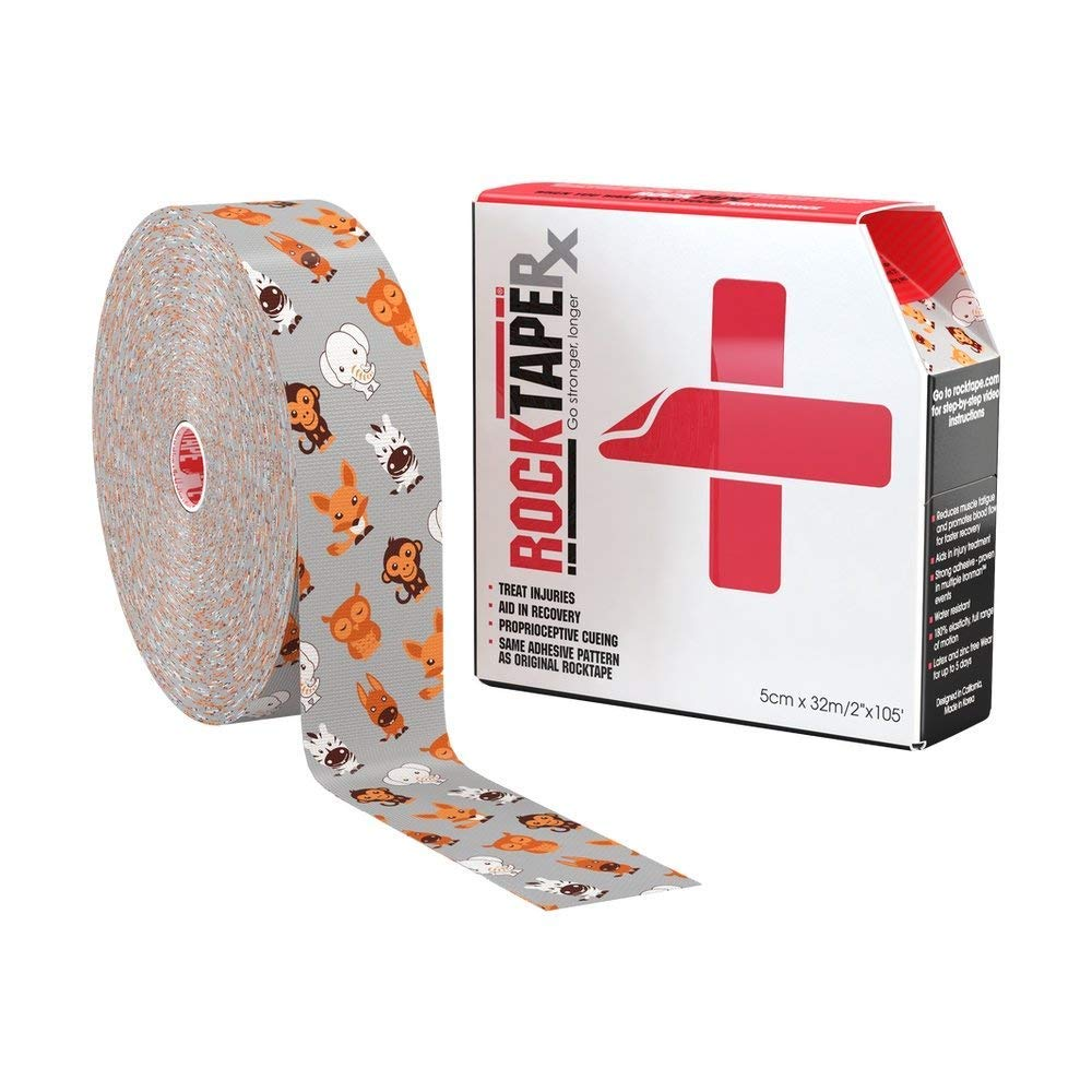 RockTape RX (Gentle Adhesive) Uncut Bulk Pediatric Kinesiology Tape for Sensitive Skin - 2'' X 105' Roll - Animal Zoo Pattern