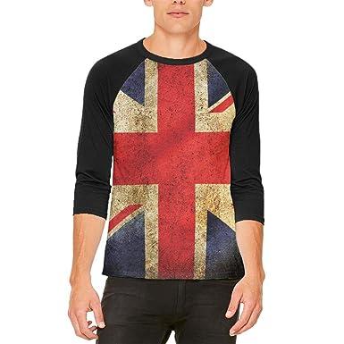 b530235acd21 British Flag Union Jack Grunge Distressed Mens Raglan T Shirt White-Black SM