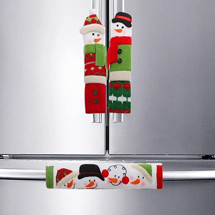 Sakolla Christmas Refrigerator Handle Covers, 3 Pack Cute Snowman Kitchen Appliance Handle Covers Protector, Perfect for Ovens, Fridge, Dishwashers, Christmas Decorations