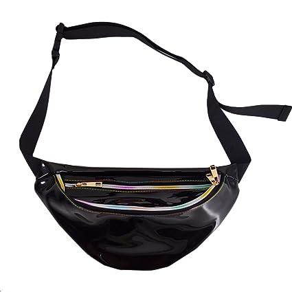 9aff21ebd2311 Dolores Women's PVC Hologram Fanny Pack Belt Waist Bum Bag Laser Travel  Beach Purse, Black