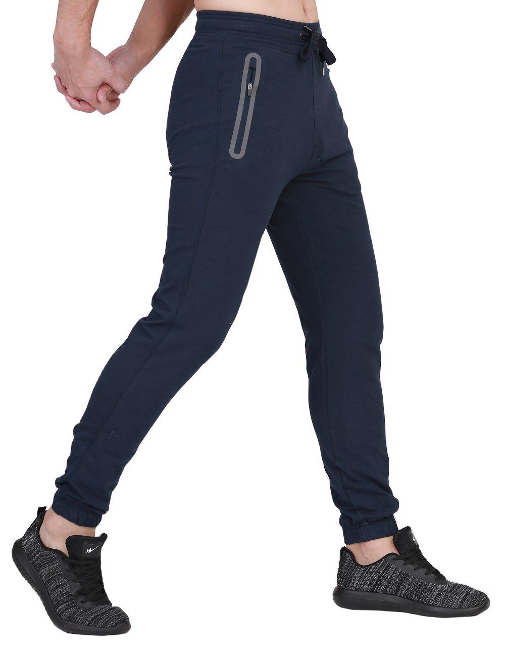 BonWayメンズJogger Sweatpantsコットンアクティブパンツアスレチックスポーツランニングパンツwithポケットスリムフィット B077YXM8YM Medium ディープブルー ディープブルー Medium
