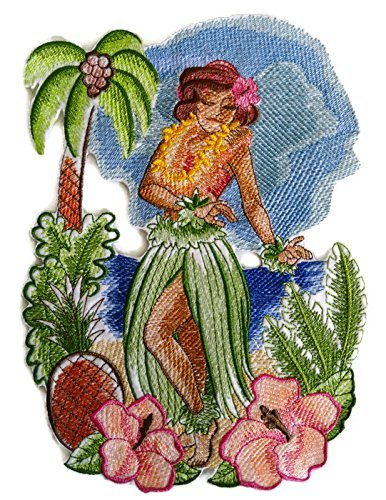 Beyondvision Personalizados Y Únicos Hawaii Hula Retro Niña Hierro Bordado Parches De Costura 10 X7 Gris, Negro, Blanco: Amazon.es: Hogar