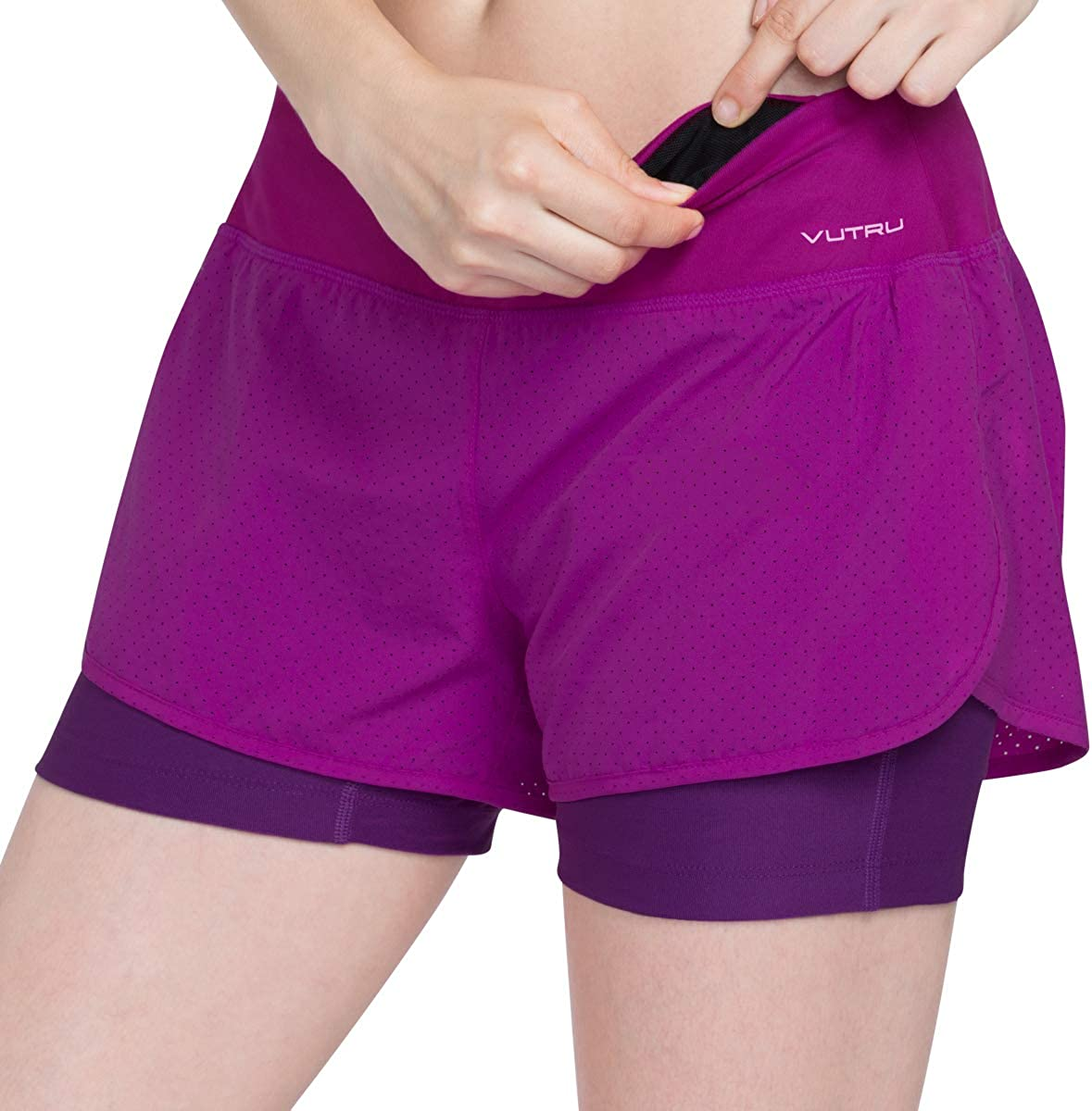 VUTRU Womens 2 in 1 Workout Sports Running Shorts with Zip Pocket Double Layer