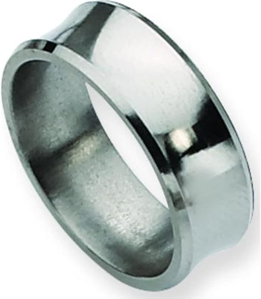 Titanium Sterling Silver Inlay 8mm Brushed Band Size 11 Length Width 8