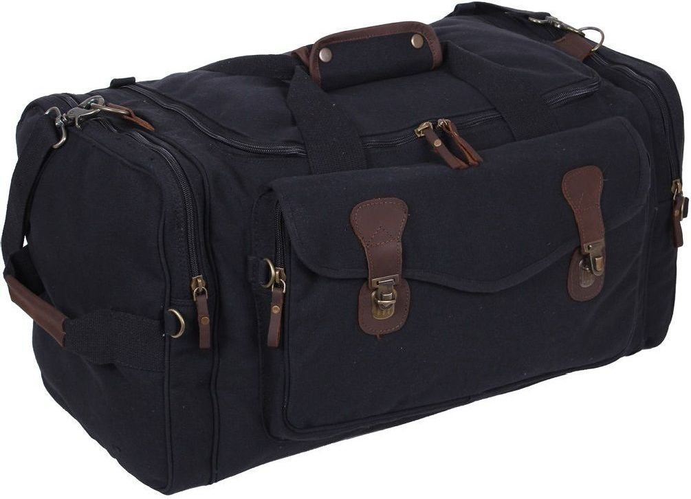 Black Canvas Leather Accents Luggage Weekend Tactical Travel Bag by Bellawjace Clothing (Image #1)