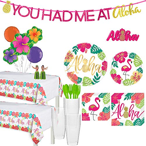 Party City You Had Me At Aloha Party Supplies for 32 Guests, 195 Pieces, Includes Tableware and Decorations