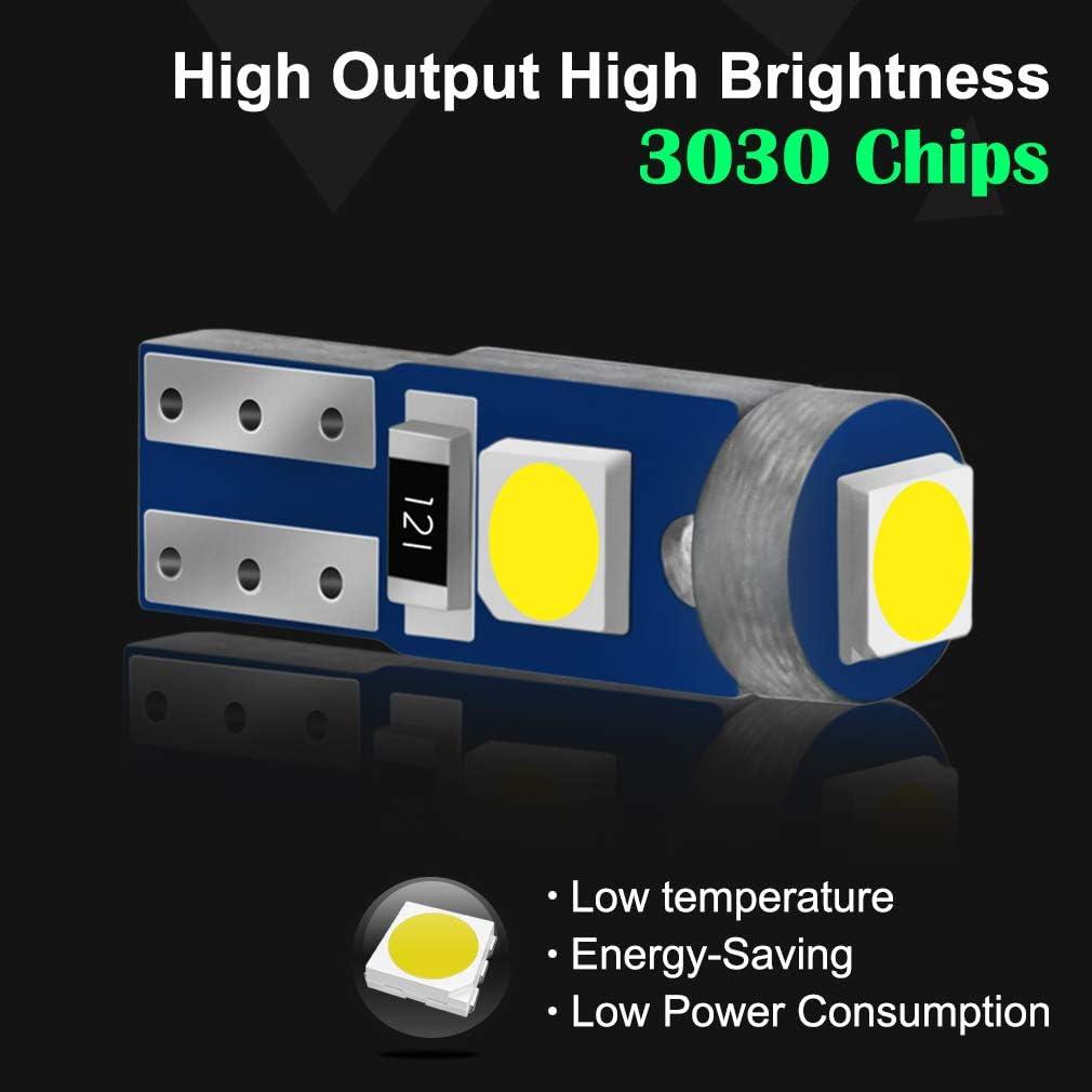 JAVR 10-Pack 3030 3 SMD 12V Bule Led T5 74 73 2723 2721286 W3W W1.2W pour /éclairage int/érieur de voiture tableau de bord LED remplacement de lampe dinstrument automatique