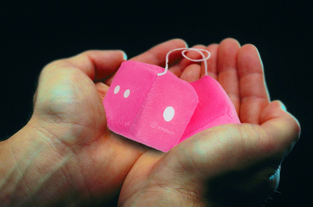 """Zone Tech Pair Briefcase Car Hot Pink Hanging Key Chain Mirror Fuzzy Dice 2.75/"""""""