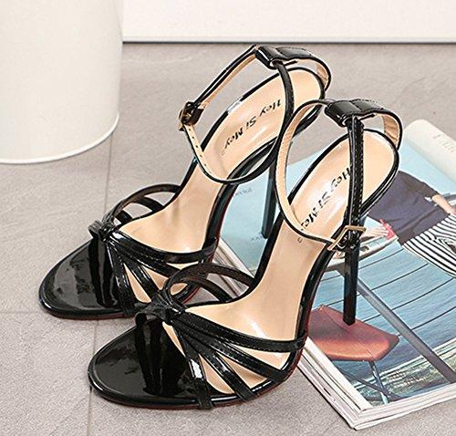 Caviglia 49 Le Rosso Sandali Tacchi Dimensione Nero Signore eur43 Del Cinghia Donna Scarpe Stiletto Piede Cinghietti Bianca 40 uk12 Dito Alto Sandalo Sbirciare black wPzq7x