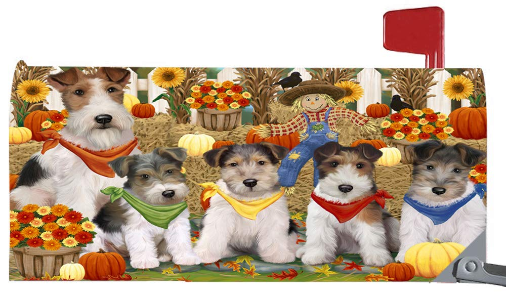 Magnetic Mailbox Cover Harvest Time Festival Day Wire Fox Terriers Dog MBC48086