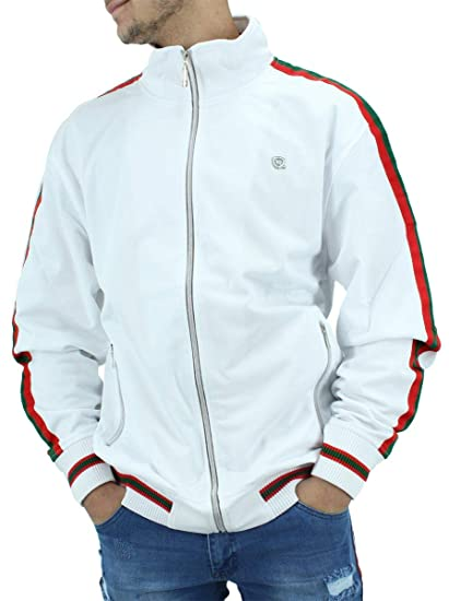 186cc3979 Rocawear ESSENTIAL GUCCI COLOUR STRIPES MENS BOYS TRACK JACKET HIP HOP  NAPPY MONEY TIME IS White: Amazon.co.uk: Clothing