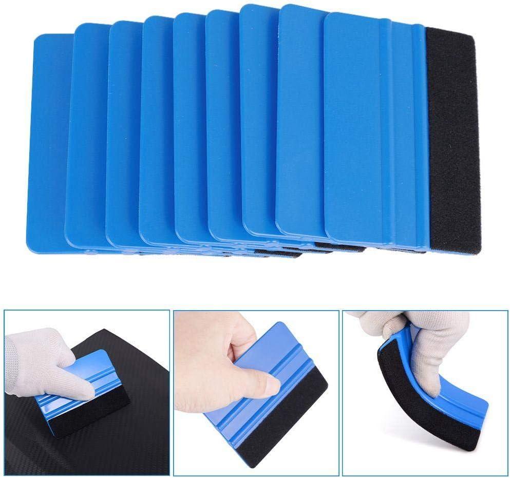 QINGKONG 10Pcs Squeegee Felt Edge Scraper for Car Vinyl Scraper Decal Applicator Tool Blue