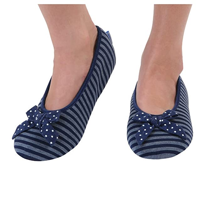 0c7490bf4bd Image Unavailable. Image not available for. Color  Snoozies Women s  Lightweight Striped Ballet with Bow Slipper Socks ...