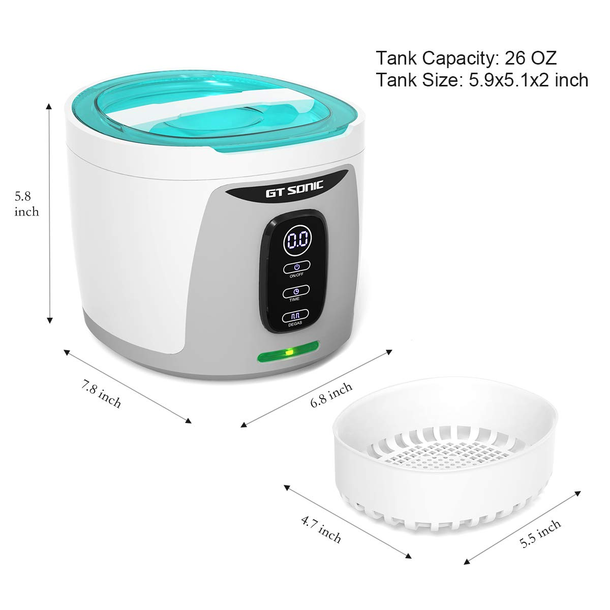 GTSONIC Ultrasonic Cleaner Jewelry Glasses Dentures Professional Detachable Cleaning Machine, 4 Timer Cycles Auto-Off, 26 OZ, 35 W by GTSONIC (Image #3)