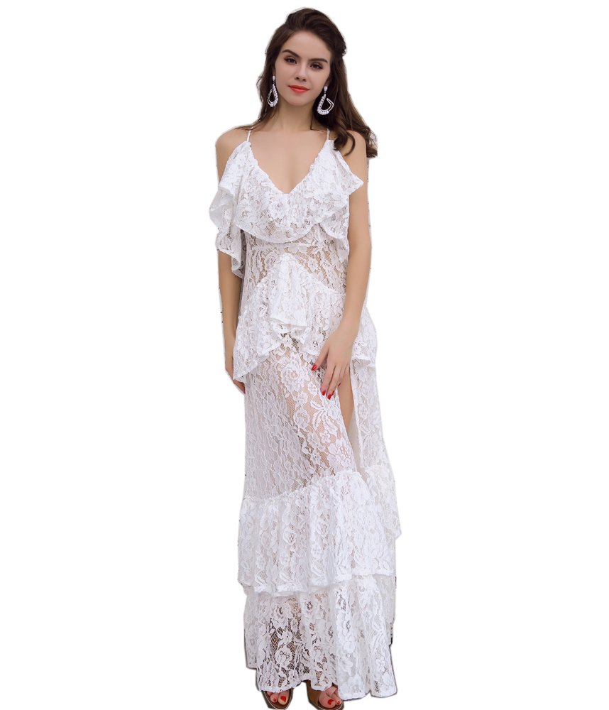 Missord Women's Polyester Backless Split Lace Stitching Maxi Dress:  Amazon.co.uk: Clothing