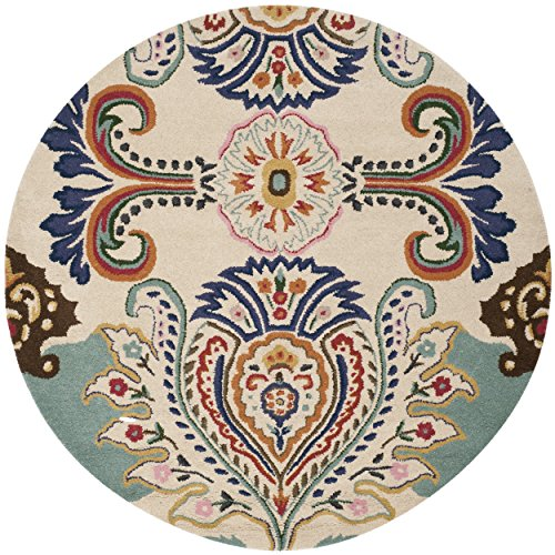 Safavieh Bella Collection BEL118A Handmade Ivory and Blue Premium Wool Round Area Rug (5' Diameter)