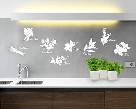 Wandtattoo Küche Kräuter in verschiedenen Größen und Farben (50 x 35 cm,  weiß)