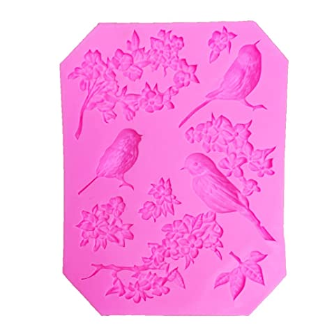 Amazon.com: 1 piece Bird Flower silicone fondant mold cake decorating tools Roses chocolate stencil moldes de silicona para reposteria T1018: Kitchen & ...