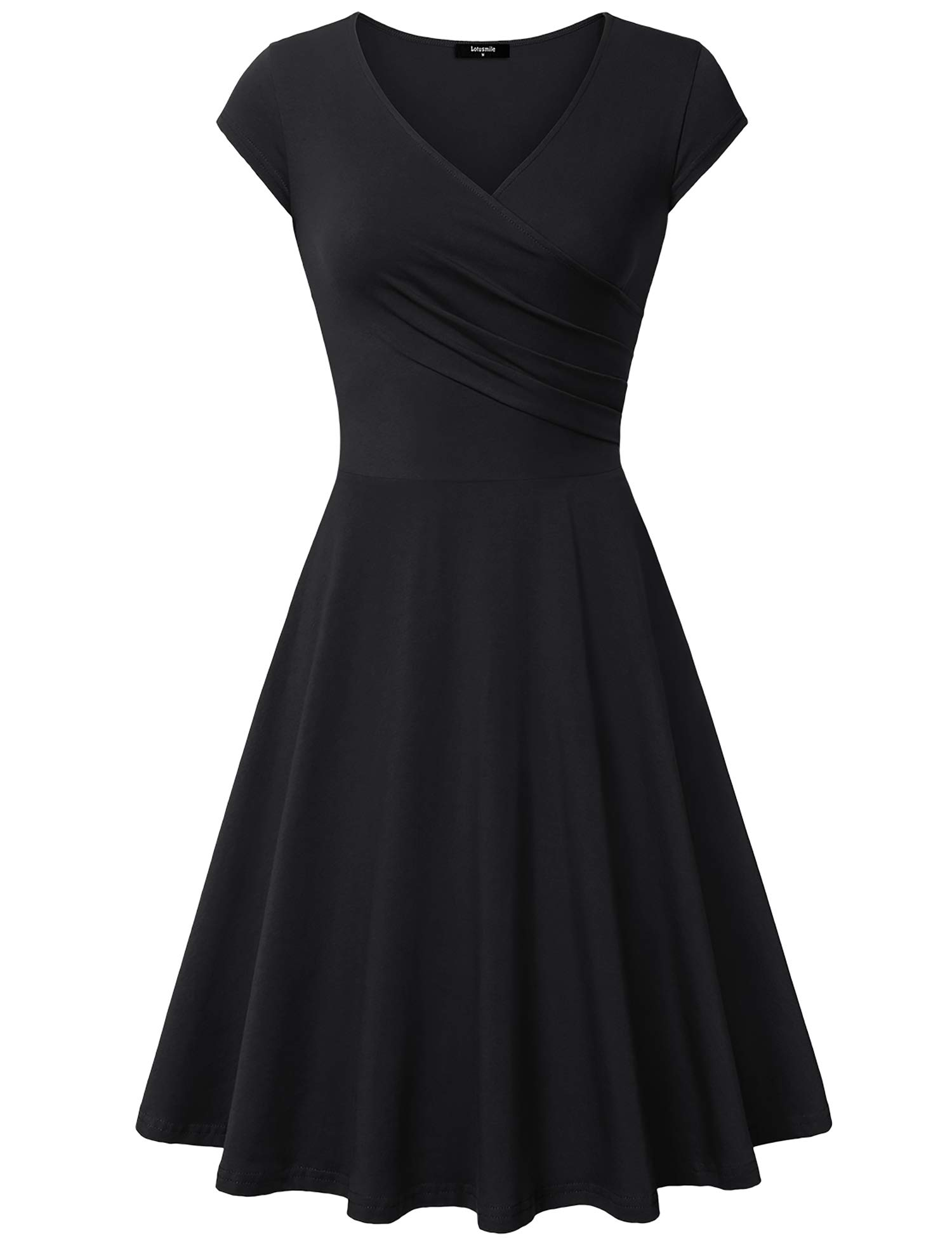 Lotusmile Graduation Dress, Women Sexy Cocktail Vintage Business Affordable Dress,Large All Black