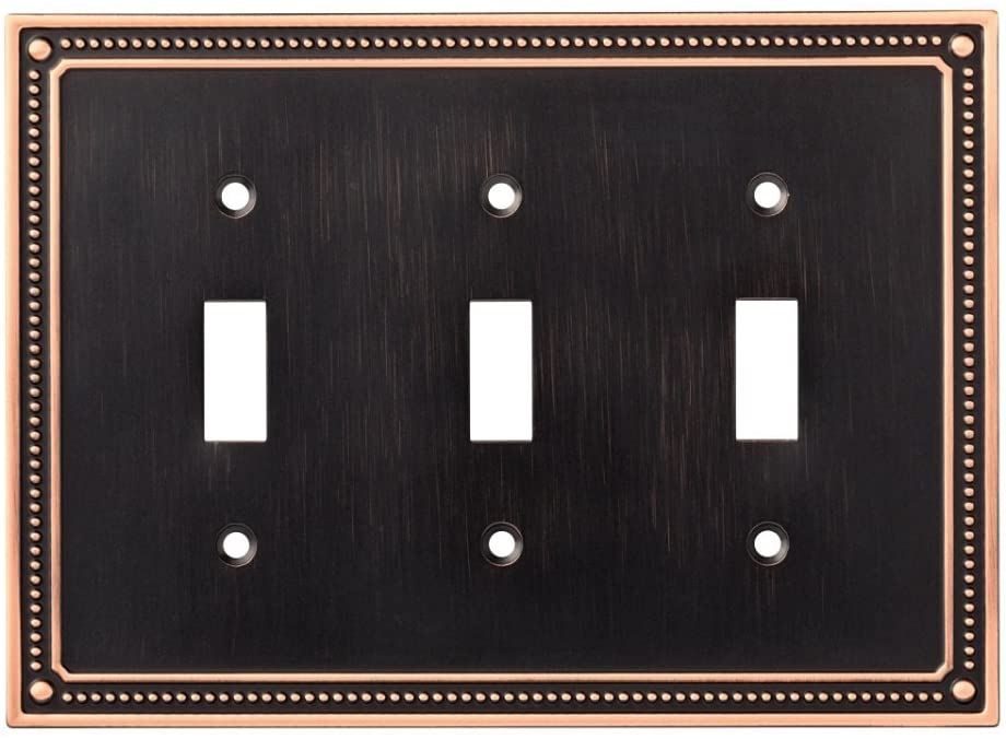 Franklin Brass W35066-VBC-C Classic Beaded Triple Toggle Switch Wall Plate / Switch Plate / Cover, Bronze with Copper Highlights